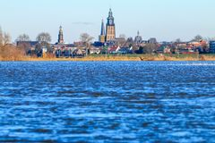 Flooding of river of IJssel in Zutphen, Holland royalty free stock photo