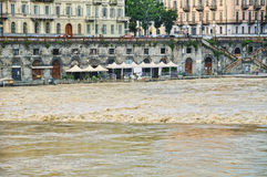 Flooding from river Po in Turin Stock Photography