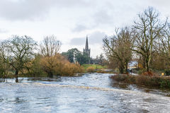 Flooding river Suir in Cahir city Stock Image