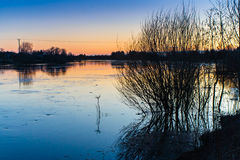 Flooding River. The water of the river rises quite high in the springtime stock images
