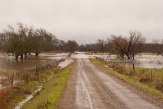 Flooding In Road Ditches Royalty Free Stock Photography