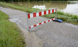 Flooding. Roadblock because of flooding after heavy rain Stock Image