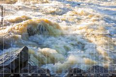Flooding after several days of torrential rain - concept image with rainfall chart.  stock photography