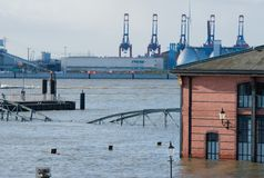 Flooding at the St. Pauli fish market for fire service access royalty free stock photography