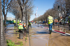 Flooding in the street due to broken pipe Stock Photos
