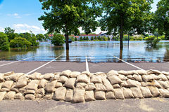 Flooding street. Flooding in Magdeburg, Germany, June 2013. Sandbags protect against the water Stock Photo