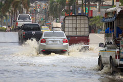 Flooding on the street near the market in Bang Pu Industrial Estate Stock Photos