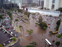 Flooding Streets. Streets of São Paulo flooding after heavy rain. Cars in flooded parking lot. December 22, 2008 Royalty Free Stock Photos