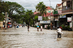 Flooding in the streets of Cambodia Stock Photos