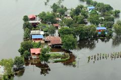 Flooding in Tawung, Lopburi,Thailand Stock Images