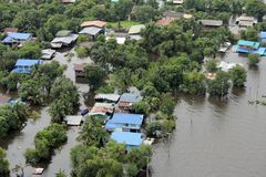 Flooding in Tawung, Lopburi,Thailand Stock Photography