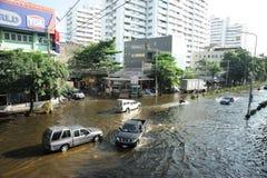 Flooding in Thailand. BANGKOK, THAILAND - NOVEMBER 04: Heavy flooding from monsoon rain in north Thailand arriving in Bangkok on November 04, 2011 in Bangkok Stock Photos
