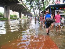 Flooding in Thailand. BANGKOK - OCTOBER 19: Heavy flooding from monsoon rain in Ayutthaya and north Thailand in Bangkok on October 19, 2011 at the Chao Phaya Stock Images