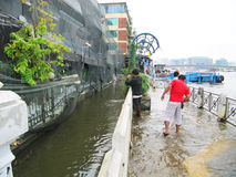 Flooding in Thailand. PRATHUMTHANI, THAILAND - OCTOBER 23: Heavy flooding from monsoon rain in Ayutthaya and north Thailand arriving in Bangkok suburbs on Stock Image