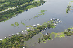 Flooding time on Amazon. Flooding time on the Amazon seen from above stock photo