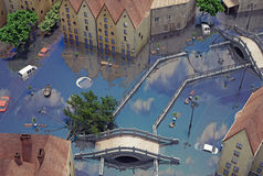 An flooding town Stock Image