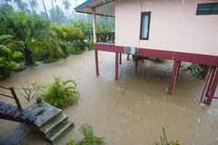 Flooding and tropical rain on the street in Koh Phangan, Thailand. Flooding and tropical rain on the street in island Koh Phangan, Thailand Stock Photo