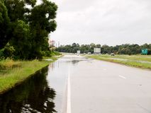 Flooding US High 59 North Livingston, Texas. Flooding on the us 59 north feeder road in Livingston, Texas after hurricane harvey Stock Photos