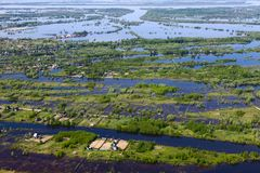 Flooding in the village, top view royalty free stock photos