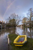 Flooding - Yorkshire - England. Flooding after the River Derwent burst its banks in the village of Old Malton in North Yorkshire in northeast England. (27th Royalty Free Stock Photos