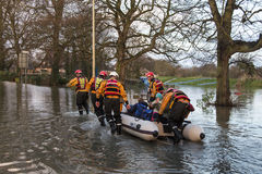 Flooding - Rescue - Yorkshire. Rescue work during the flooding when the River Derwent burst its banks in the village of Old Malton in North Yorkshire in Royalty Free Stock Photos
