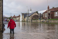 Flooding - Yorkshire - England. Flooding after the River Derwent burst its banks in the village of Old Malton in North Yorkshire in northeast England.  (27th Stock Image