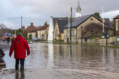 Flooding - Yorkshire - England. Flooding after the River Derwent burst its banks in the village of Old Malton in North Yorkshire in northeast England.  (27th Stock Images