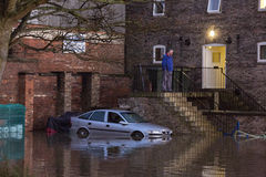 Flooding - Yorkshire - England. Flood water after the River Derwent burst its banks in the town of Malton in North Yorkshire in northeast England.  (27th Stock Photo