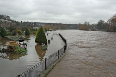 Flooding in Yorkshire, England. Flooding in the town of Otley in Yorkshire, England on 26th December 2015. The river has risen and closed roads and folded homes Royalty Free Stock Images