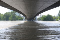 Floods Bratislava - Under Bridge SNP. Danube river overflowing in Bratislava on the 6th June 2013. Bratislava. The amount of ater is 4 times than average in this Royalty Free Stock Image