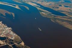 Floodland взгляд сверху большого реки во время весны Стоковое фото RF