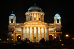 Floodlight. Building at night in Hungary Stock Photography