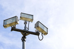 Floodlight. Close up and blue sky Stock Photography