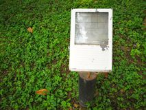Floodlight. On the grassland in park Stock Image