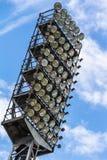 Floodlight mast of a sport stadium. Old floodlight mast of a sport stadium Stock Photos