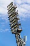 Floodlight mast of a sport stadium. Old floodlight mast of a sport stadium Royalty Free Stock Images