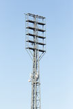 Floodlight at the stadium against the blue sky Royalty Free Stock Photography