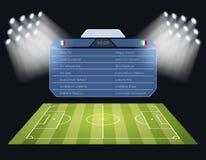Floodlighting soccer field with scoreboard Stock Photos