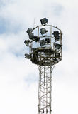 Floodlights. Tower with many floodlights Stock Image