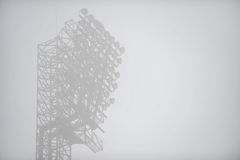 Floodlights in dense fog Stock Photo