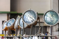 Floodlights. With electric lamps for aircraft maintenance Royalty Free Stock Photo