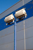 Floodlights at the ready. Floodlights for enhancing security overnight Stock Photo