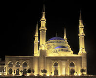 Floodlit Blue Mosque in Beirut. Nighttime shot of the Blue Mosque in Beirut royalty free stock photo