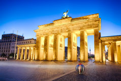 Floodlit Brandenburg Gate in Berlin - Symbol of Germany.  stock images