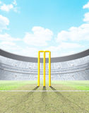 Floodlit Stadium Day. A generic seated cricket stadium with cracked pitch and yellow wickets a green grass pitch in the day time under a blue cloudy sky - 3D stock illustration