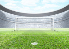 Floodlit Stadium Day. A generic seated soccer stadium showing a set of goals and penalty spot in the day time under a blue cloudy sky - 3D render vector illustration