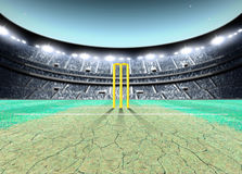 Floodlit Stadium Night. A generic seated cricket stadium with cracked pitch and yellow wickets on a green grass pitch at night under illuminated floodlights - 3D stock illustration
