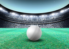 Floodlit Stadium Night. A generic seated cricket stadium with a white ball on a green grass pitch at night under illuminated floodlights - 3D render Stock Image