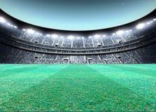 Floodlit Stadium Night. A generic seated stadium with a green grass pitch at night under illuminated floodlights - 3D render stock illustration