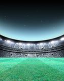 Floodlit Stadium Night. A generic seated stadium with a green grass pitch at night under illuminated floodlights - 3D render vector illustration
